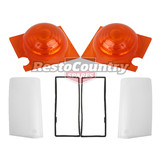 Ford Front Indicator Outer + Inner Lens + Gasket XY x2 RIGHT+LEFT blinker