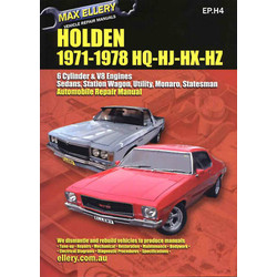 Holden 1971-78 HQ HJ HX HZ Workshop Repair Manual 6 V8