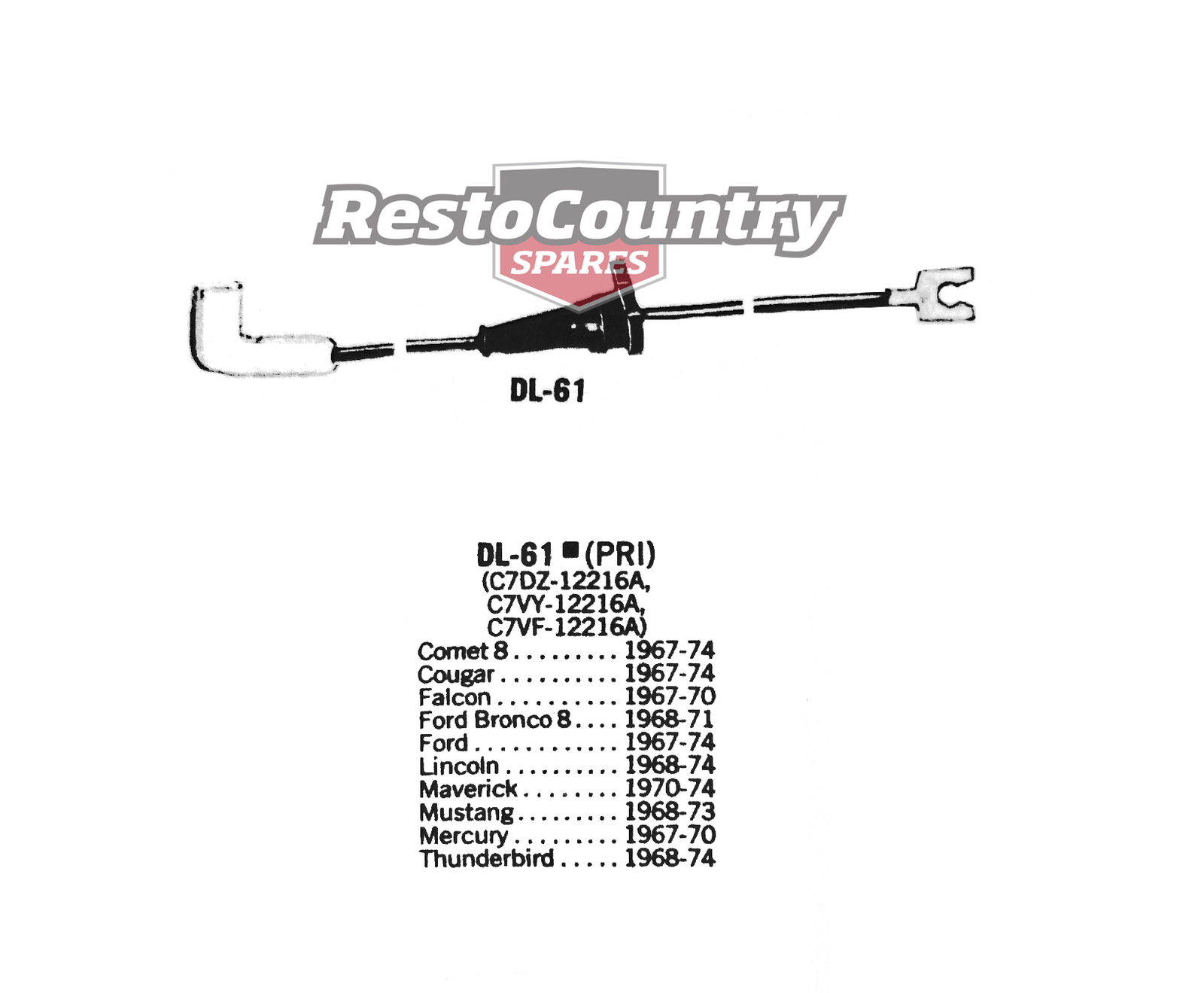 Ford Distributor Primary Lead Ignition Wire DL-61 V8 Comet