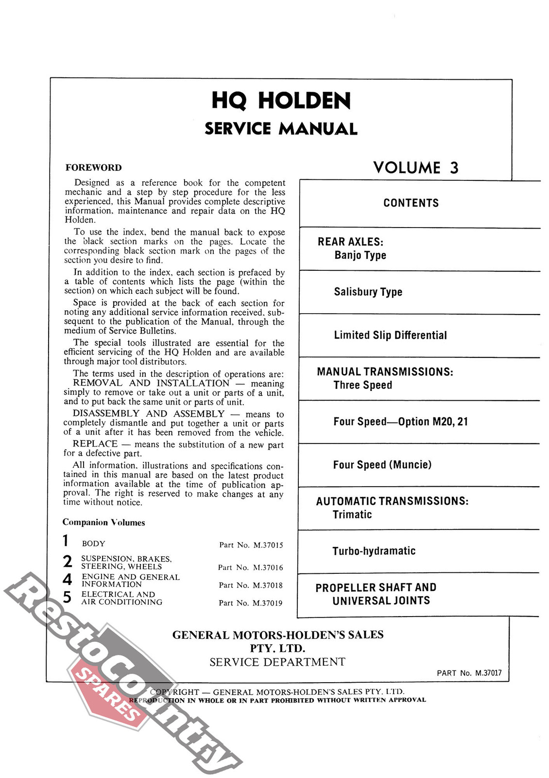 Holden GMH Factory HQ Vol 1 2 3 4 5 Service Manual NEW 5 Volume Set workshop  book