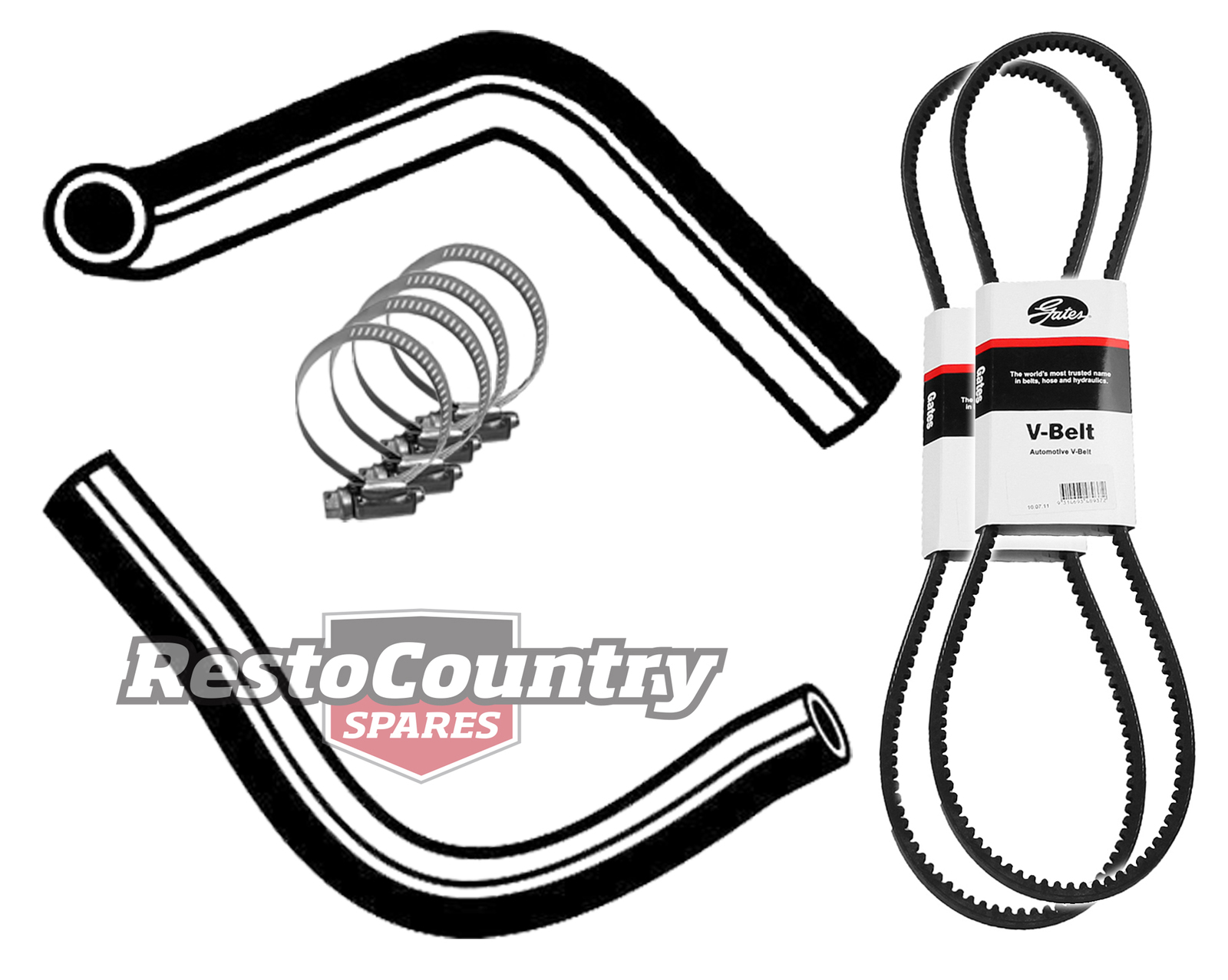 Clamps Fan Belt VK 6Cyl 202 3.3 NO A//C Holden Commodore Service Radiator Hose