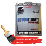 KBS Motor Coater Engine Enamel 500mls HOLDEN ROCKET RED (orange) High Temp Paint