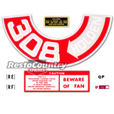 Holden HQ V8 Engine Decal Kit -308 HOLDEN- Air Cleaner +Beware Of Fan +Oil Cap