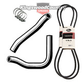 Holden Service Radiator Hose +Clamp +Fan +AC Belt Kit WB 6cyl 202 3.3 Air Con #F