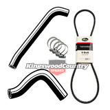 Holden Service Radiator Hose +Clamp +Fan Belt Kit HT HG V8 253 308 No Air Con