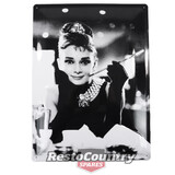 Audrey Embossed Retro Tin Sign 30x40 cave shed coffee shop