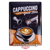 Cappuccino Good Idea Embossed Retro Tin Sign 30x40 cave shed coffee shop