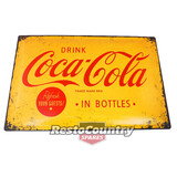 Coca-Cola Logo Yellow Embossed Retro Tin Sign 40x60 man cave shed coke