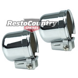 Speco 2 5/8 Chrome Steel Gauge Pod PAIR + Mounting Kit - Clamp Type holder cup