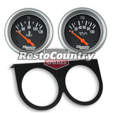Speco 2 5/8 Gauge Kit Oil Pressure + Water Temp + Holder Panel Black Electrical