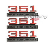 Ford '351 HIGH PERFORMANCE' Guard / Fender + Boot Badge Kit x3 XW GT emblem
