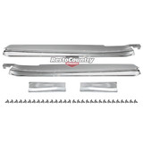 Holden Scuff Plate Sill CHROME Pair + Screws HQ HJ HX HZ WB Ute Van Ton Tonner