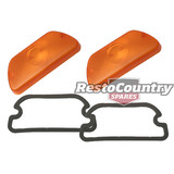 Holden Front Indicator Lens + Gasket Amber Pair Torana LH LX Left + Right x2