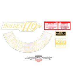 Holden HD 179 Engine Decal kit +Oil Cap +Radiator Caution +Air Cleaner